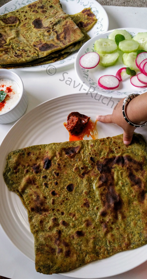 Spicy Avocado And Spinach Paratha : Wholegrain Vegan Spinach Flatbread