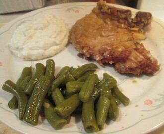 Breaded Pork Chops w/ Sour Cream Potatoes,Green Beans, and…