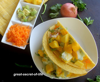Vegetarian Mango taco recipe - Snack recipes - Starter recipe - Mango Recipes