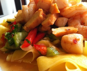 Nantucket Bay Scallops and Shrimp with Thai salsa and Sesame Egg Noodle