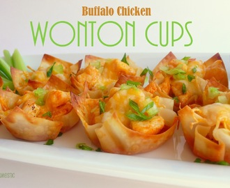 Buffalo Chicken Wonton Cups