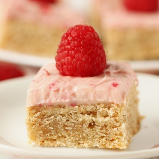 Whole Grain Lofthouse Bars with Raspberry White Chocolate Cream Cheese Frosting