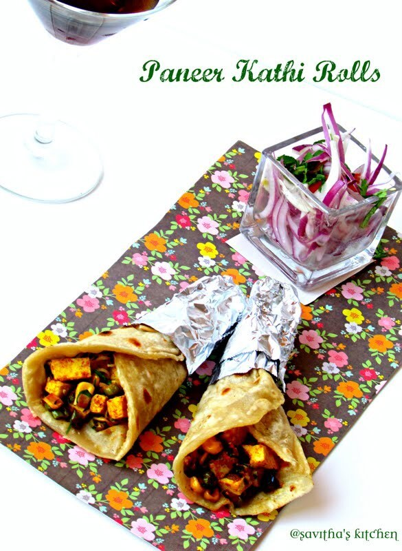 Paneer Kathi Rolls / Kids Lunch box Recipes / Blogging Marathon #25