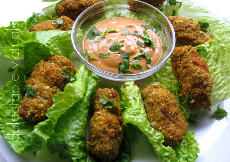 Baked Chipotle Turkey Croquettes in Lettuce Wraps with Tahini Dip
