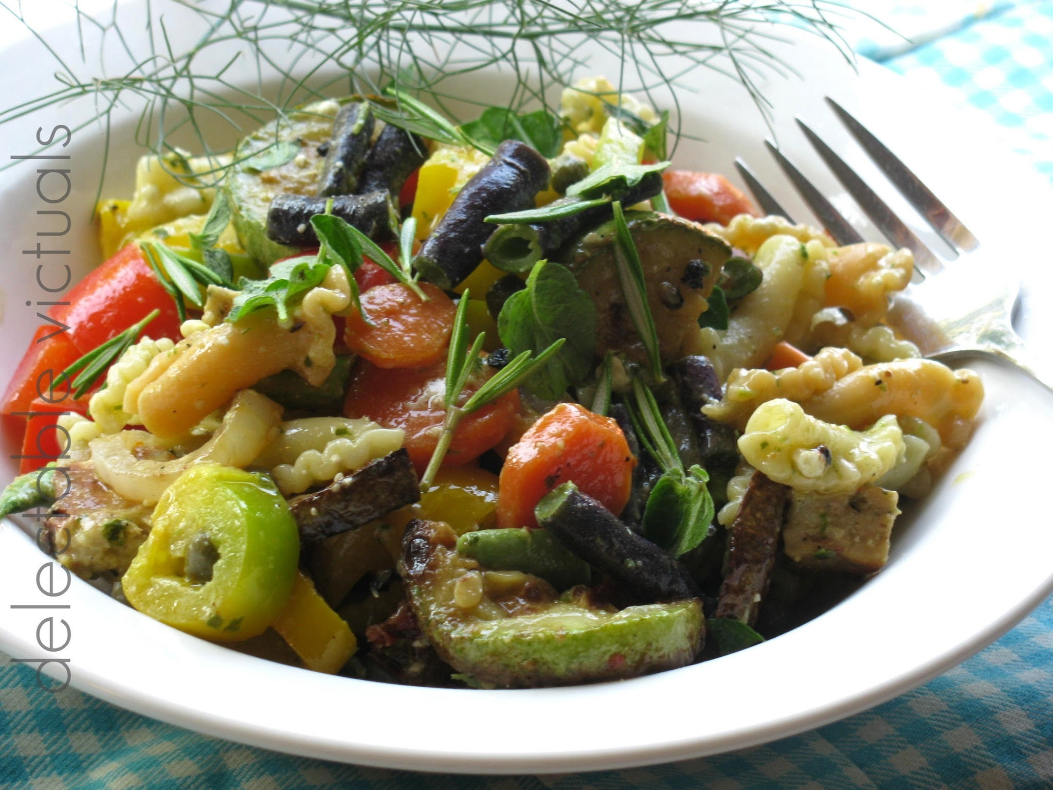 Tricolor Gigli Salad with Roasted Squash, Bell Peppers and Purple beans