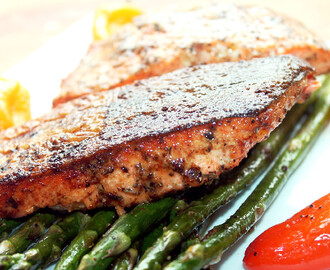 Creole Salmon with Roasted Asparagus and Peppers