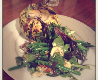 Squash stuffed with Chard + Courgette and Green Bean Salad