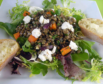 Warm Lentil Salad with Walnuts & Goats' Cheese
