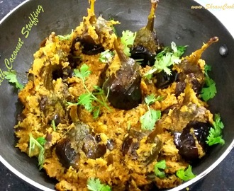 bharwa baingan masala with gravy, stuffed brinjal curry with coconut - gutti vankaya karam kura