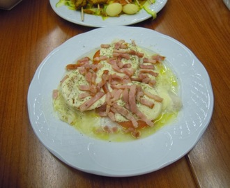 FILETES DE MERLUZA CON GAMBAS O BACON