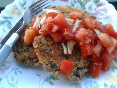 BEANS & PLANTAIN CAKES WITH A TOMATO-ONION SALAD