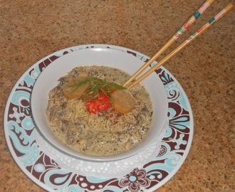 Gourmet Ramen Noodles en Fenugreek Leaf, Black Caraway and Mushroom Tahini with Sumac Berry Spice and Pickled Lemon