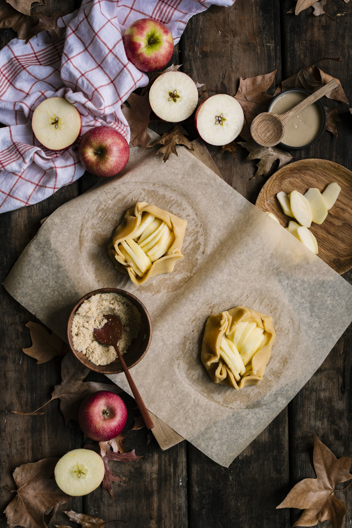 Pink Lady® Apple Galettes with Spelt Crusts and Tahini Butterscotch Sauce