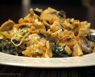 Creamy Chicken and Brown Rice Casserole with Mushrooms and Baby Kale