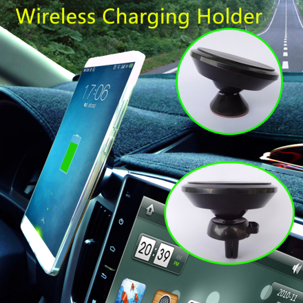 Universal Car Phone Holder For iPhone With Qi Wireless Charger Magnet mobile Phone Car Charger Holder Air Vent Support Car Stand