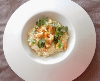 Risotto aux crevettes, curry, crème de coco et coriandre (Risotto with shrimp, coconut cream curry and coriander)