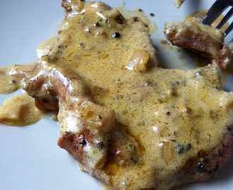 Pork Steak Au Poivre with Roasted Peppercorns