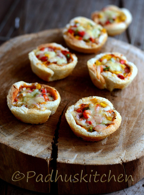 Bread Pizza Cups-Toasted Bread Cups Recipe-Easy Kids Snacks