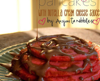 Valentine's Day Red Velvet Pancakes with Nutella Cream Cheese Sauce