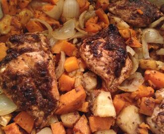 Chicken with Roasted Sweet Potato & Parsnip