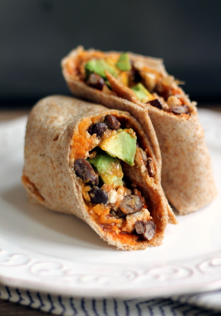 Healthy Sweet Potato, Black Bean & Avocado Breakfast Burritos