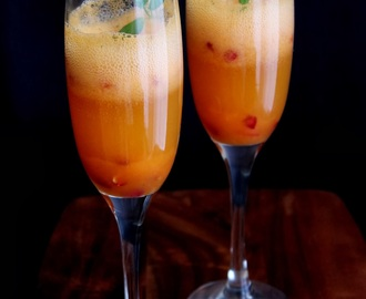 Clementine papaya fizz with Pomegranate seeds - My 4th Blog Anniversary with 500 th Post !