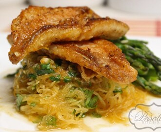 Roasted Spaghetti Squash & Pan Seared Citrus Ocean Perch