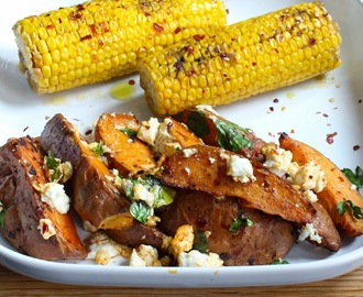 BBQ Side Dish Idea - Sweet Potato Wedges with Harissa and Feta