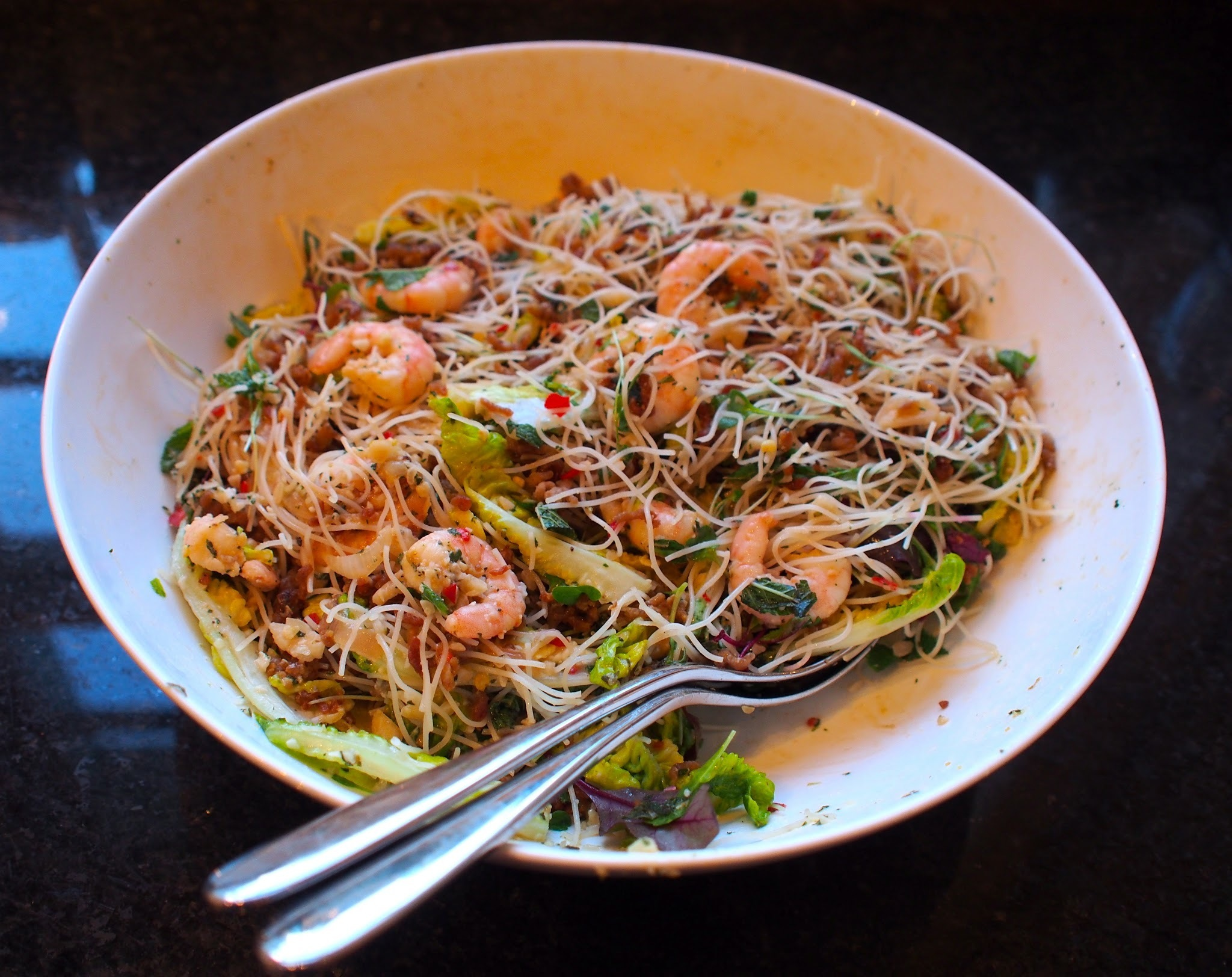 Stir-fried prawns, pork and squid with glass noodles, chilli and mint