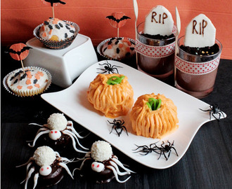 (YYY) halloweenspecial III {Coconut-Spidermuffins, White Chocolate Halloween-Topper-Muffins, Pumpkincupcakes & The-Oreo-Mousse-Cemetery}