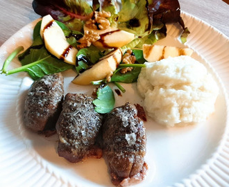 Pork cheek with Cauliflower Puree and Apple Walnut salad