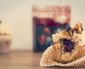 Peanut butter and jam cupcakes with salted peanut brittle
