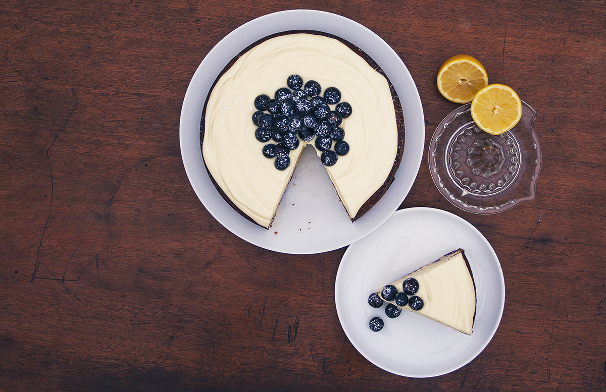 Gluten free lemon, blueberry and white chocolate cake