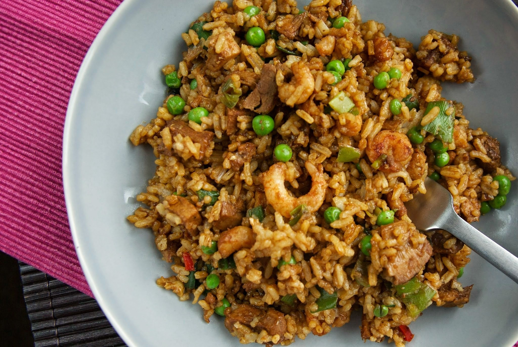 Fried rice with leftover pork and prawns