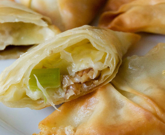 Caerphilly Cheese, Walnut and Leek Filo Parcels (Vegetarian)