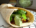 Bean and Cheese Burritos with Cilantro Lime Rice and Avocado Cream