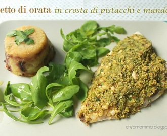 Filetto di orata in crosta di pistacchi e mandorle con tortino di patate e cipolle