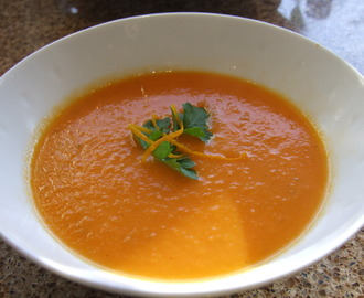 Carrot and tomato soup with ginger and orange