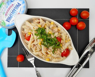 Creamy Salmon Penne Pasta Salad with Corn and Cherry tomatoes