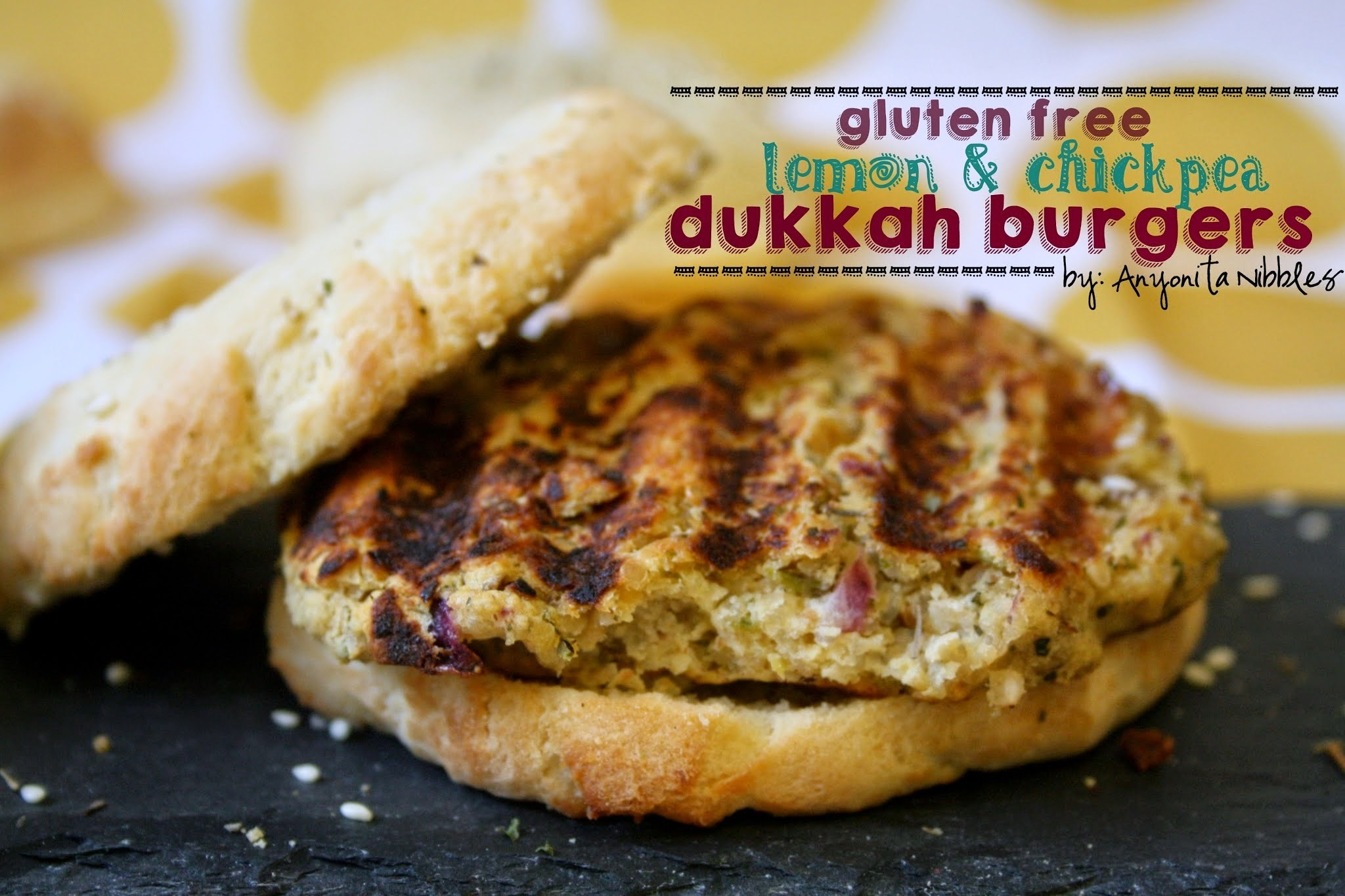 Vegetarian Lemon & Chickpea Dukkah Burgers on Best Ever Gluten Free Burger Buns