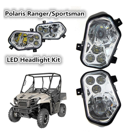 Pair ATV UTV Light Accessories Projector Headlight Polaris Ranger / Sportsman LED Headlight Kit for Polaris Ranger Side X Sides