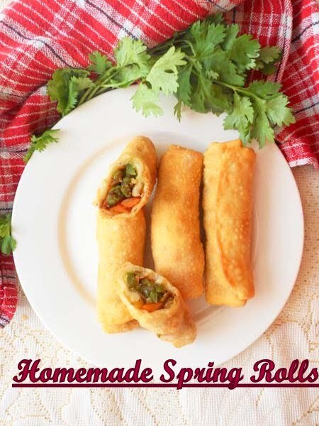 Chinese Vegetable Spring Rolls With Homemade Wrappers.