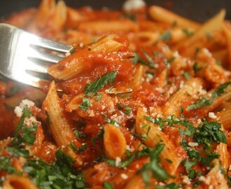 Gussied Up Pasta Sauce with Penne.
