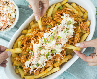 Frietje Kapsalon met pulled chicken