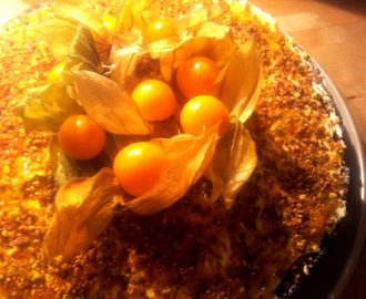 Lemon, pistachio and passion fruit tart