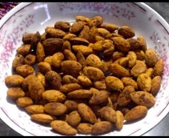 Spicy toasted almonds -Healthy snack & Christmas gift idea