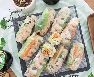 Rice Paper Rolls with Sweet Salty Spicy Marmite Sauce