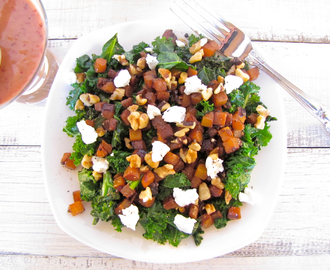 SkinnyChow Butternut Squash and Kale Salad with Cranberry Vinaigrette