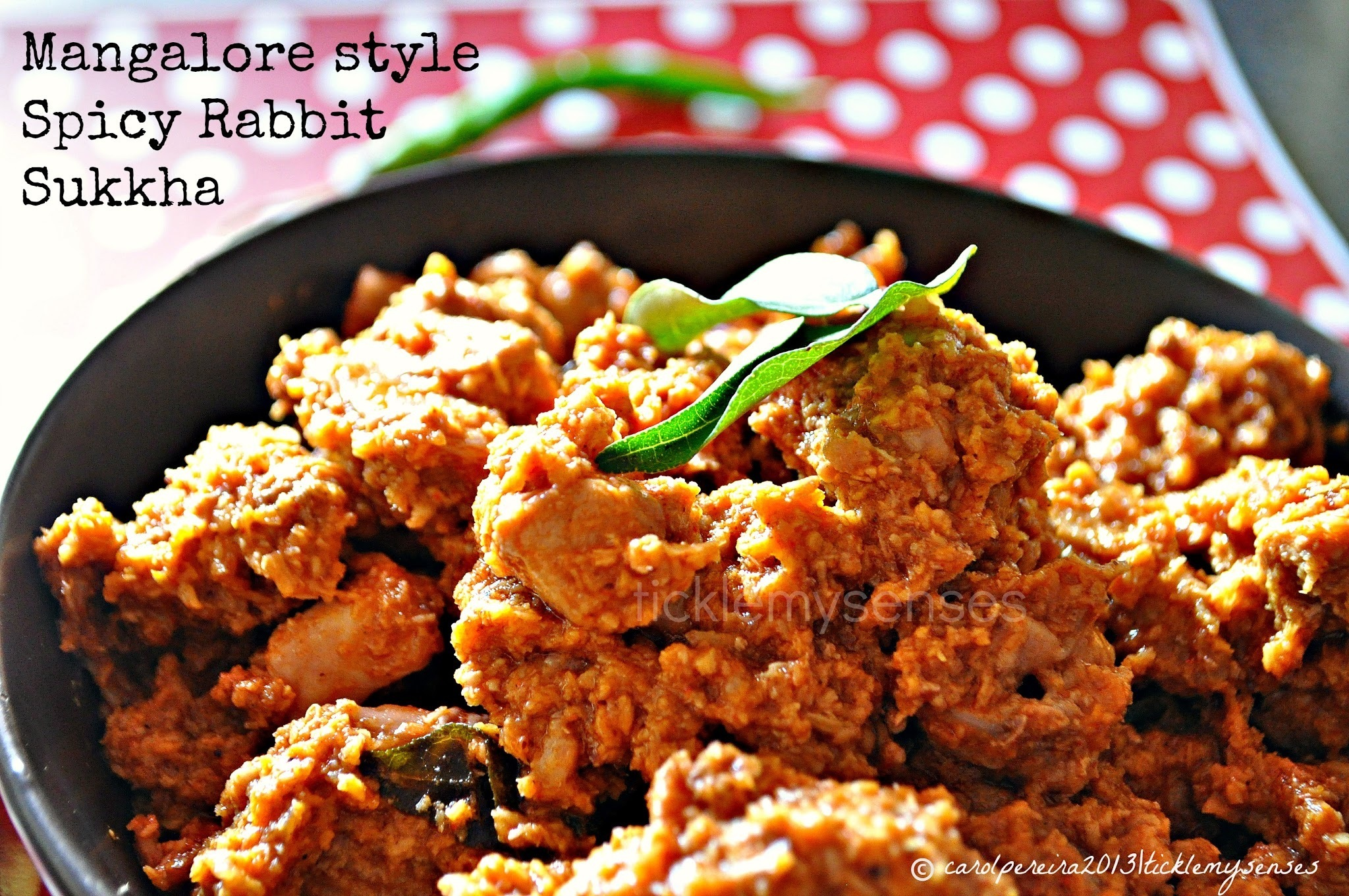 Mangalore Style Spicy Rabbit Sukka/ Sukkha, Rabbit in a Spicy Dry Coconut Gravy.