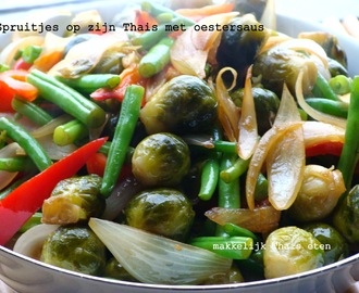 Spruitjes op zijn Thais met oestersaus/ Thai stir fried brussels sprouts with oyster sauce ผัดบรัสเซลล์ สเปร้าท์น้ำมันหอย